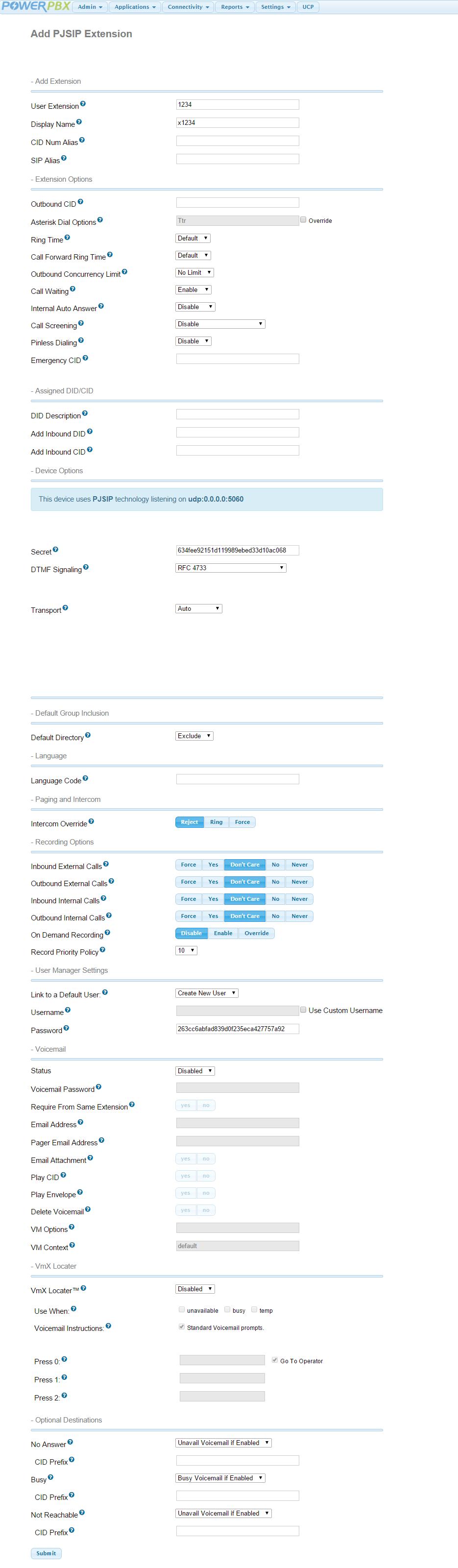3  PJSIP Extensions — PowerPBX User Guide 12 0 documentation